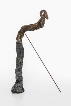 Totem V (Ram), 2019 Unfired clay, wax polish, oak tree branch, concrete, pigment, lichen, rusted steel rod 85cm x 30cm x 15cm