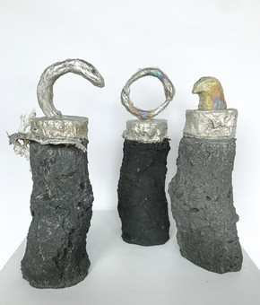 Alchemical totems, 2019 Tin, concrete, pigment each totem approx 23cm x 10xm x 7xcm