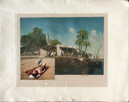 Destination, 2017 Collage on signed souvenir print dated 1920