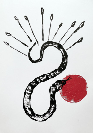 Serpent study, 2020 Monotype on bristol board paper, A3