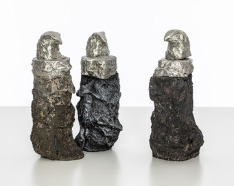 Alchemy Eagles I, II, & III, 2019  Tin, concrete, pigment 18cm x 8cm x 6cm 18cm x 6cm x 7cm 19cm x 8cm x 8.5cm
