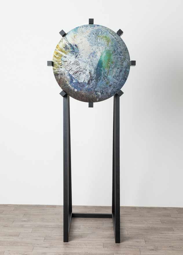 Lens, 2018  Steel, direct to media printing inks, lacquer, wood, paint 200cm  x 85cm x 100cm