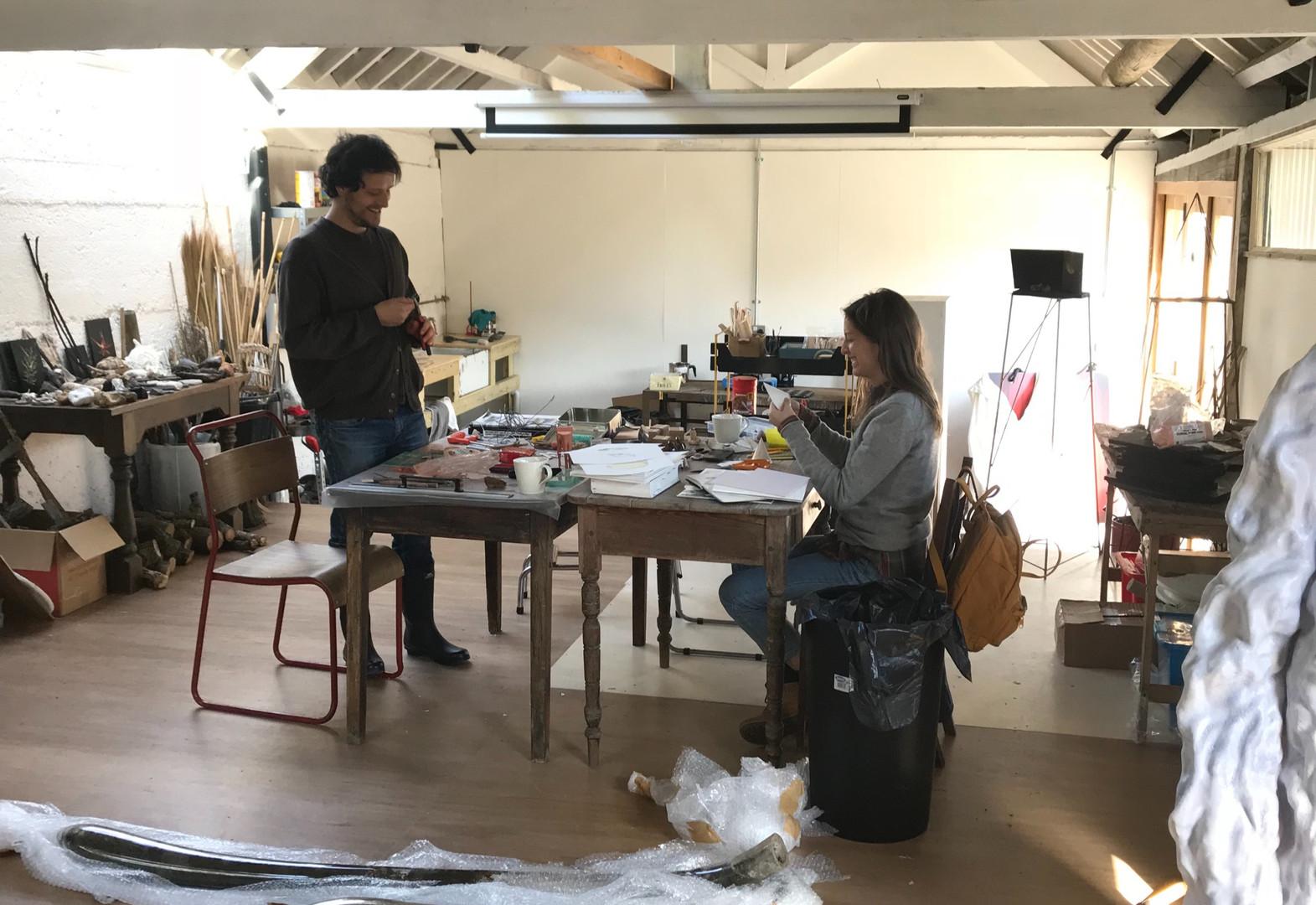 Pablo de Laborde Lascaris and Adeline de Monseignat in the studio