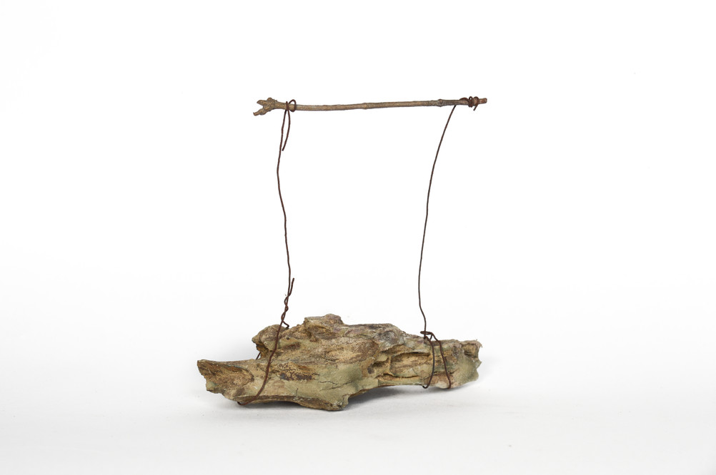 Studies In Self Healing 3 (lessons in balance) Rock, wire, bronze cast of found twig 10cm  x 10.5cm  x 4.5cm