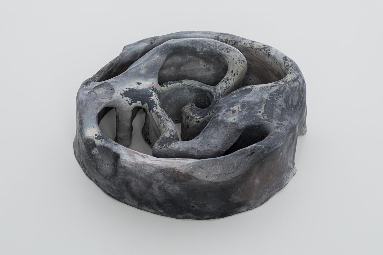 Chamber II, 2019 Smoke fired clay,  black copper oxide, salt 26 x 26 x 10cm