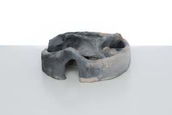 Chamber 1  2019 Smoke fired clay,  black copper oxide, salt 26 x 26 x 10cm