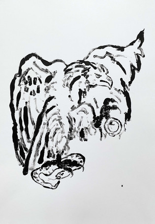 Zeus as an Eagle, 2020 Monotype on bristol board paper, A3