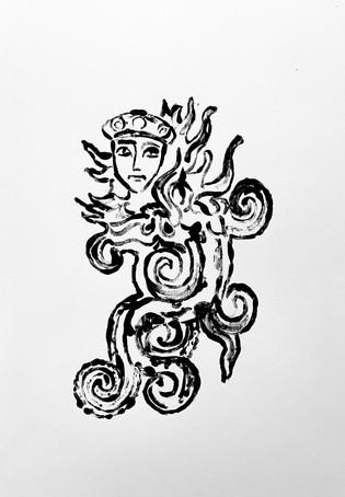 Chimera, 2020 Monotype on bristol board paper, A3