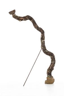 Totem VI (Chalice with Stone Eggs), 2019 Unfired clay, wax polish, oak tree branch, concrete, pigment, lichen, rusted steel rod 115cm x 35cm x 15cm