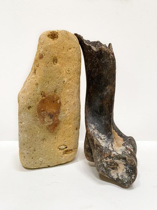 Eleventh Gate, 2020 Petrified bone, brick, time 22 x 22 x 10cm