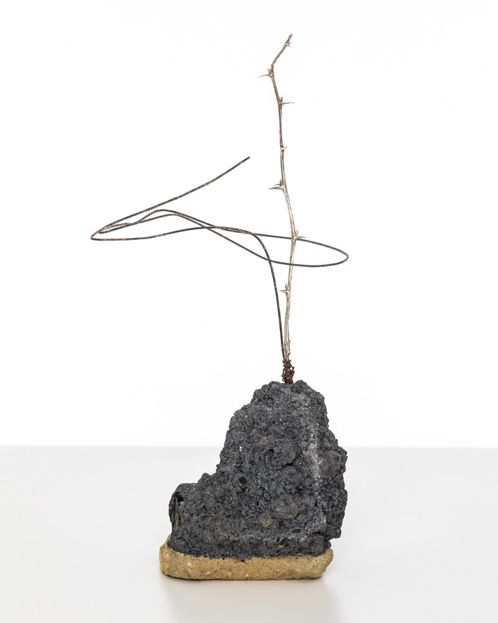 While You Stand I Shall Flourish (Studies In Self Healing 1),  2017 Silver cast of thorned twig,, building rubble, steel wire 30cm  x 13cm x 12cm