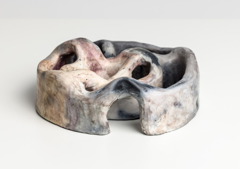 Chamber V, 2020 Smoke fired clay,  black copper oxide, salt 26 x 26 x 10cm