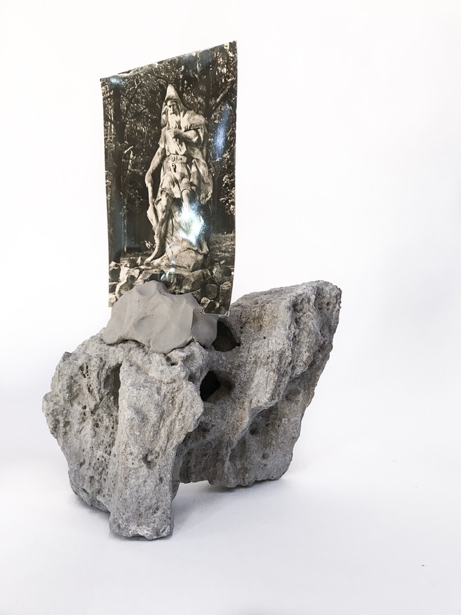A Raven Smote Upon the Ground, 2017  Rock, Clay, Found Photograph 26cm x 22cm x 10cm