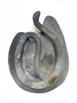 Untitled (serpent egg 2), 2019 smoke fired clay, black copper oxide, salt 21 x 16 x 3 cm