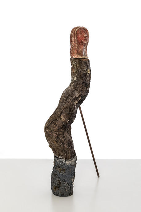 Totem I  (Medusa), 2019  Tree branch, cement, black pigment, plaster, paint , rusted steel rod 55cm x 8cm x 10cm (excluding rod)