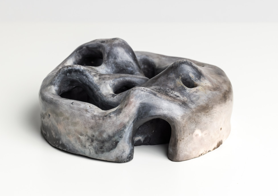 Chamber VI, 2021 Smoke fired clay,  black copper oxide, salt 26 x 26 x 10cm