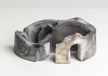 Chamber III,  2019 Smoke fired clay,  black copper oxide, salt 26 x 27 x 11cm