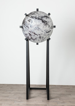 Lens II, 2018  Steel, direct to media printing inks, lacquer, wood, paint 200cm  x 85cm x 100cm