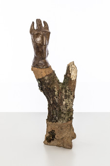 Totem VIII (Dream Guardian), 2019 Unfired clay, wax polish, oak tree branch, concrete, pigment, lichen 35cm x 14cm x 8cm