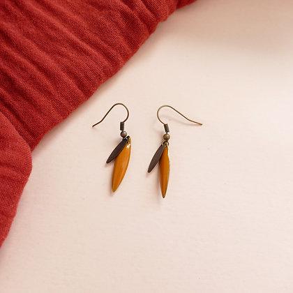 Boucles d'oreilles TEA curry / bronze