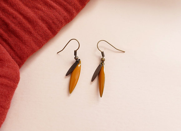 Boucles d'oreilles TEA curry / bronze