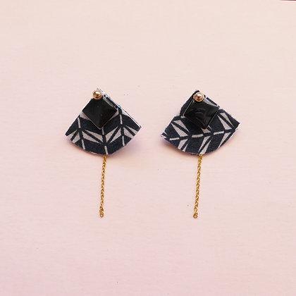 Boucles d'oreilles MARGAUX réversibles - carbone