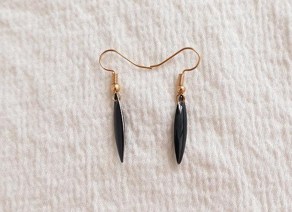 Boucles d'oreilles TEA noir / doré