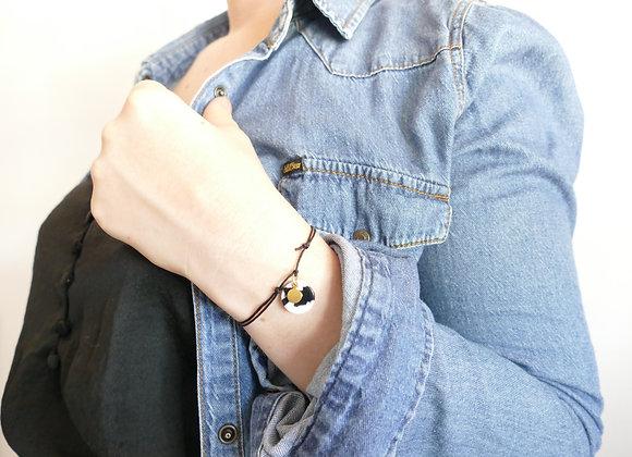 Bracelet cordon MATHILDE Noir&Blanc