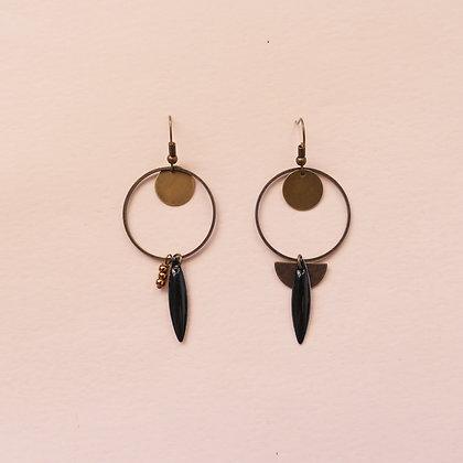 Boucles d'oreilles Amélie carbone