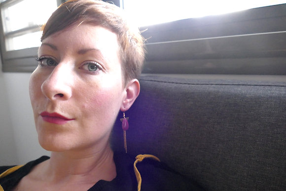Boucles d'oreilles MADELEINE magenta