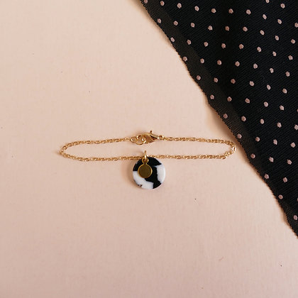 Bracelet chaîne MATHILDE Noir&Blanc