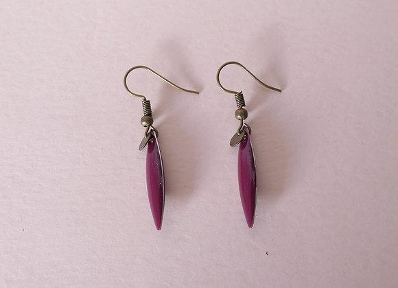 Boucles d'oreilles TEA magenta / bronze