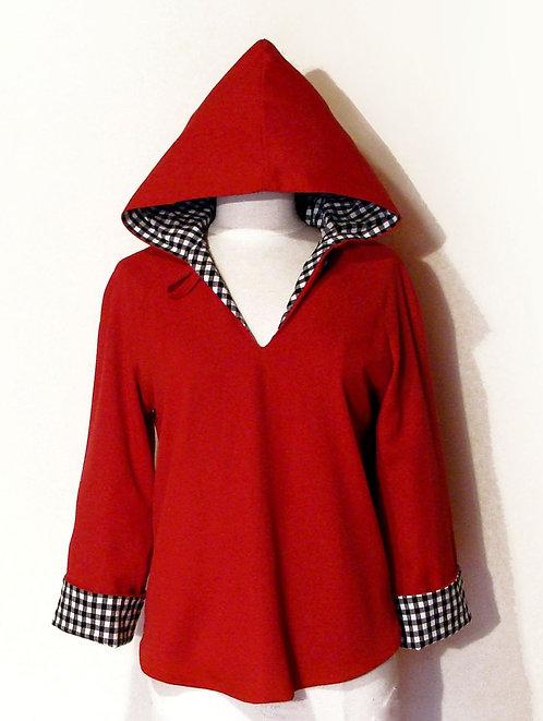 Hooded Pullover Vintage Gabardine + Gingham