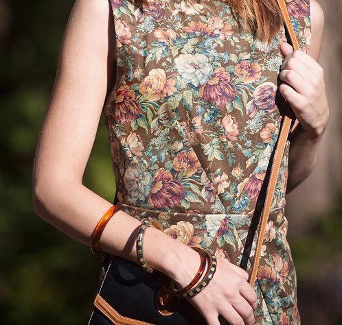 Crossed Waist Dress Floral Tapestry Print