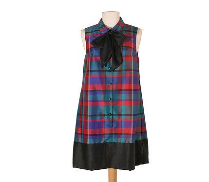 Plaid Silk Tent Dress Vintage Fabric