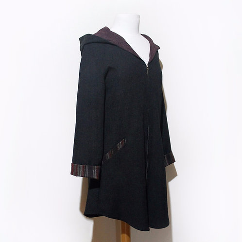 Wool Raglan Jacket Hooded Vintage Fabric