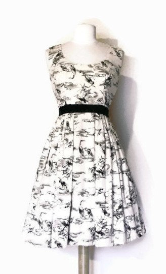 Heron Print Silk Dress Japanese Vintage Fabric