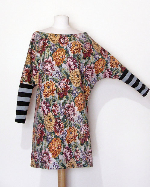 Tapestry Print Dress Dolman Stripes