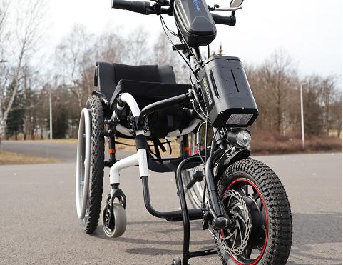Test przystawki elektrycznej Model WH12B do wózka inwalidzkiego.