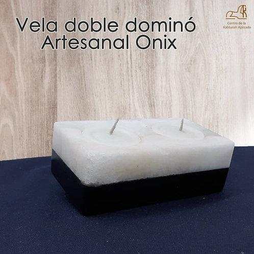 Vela doble y base  dominó Artesanal Onix