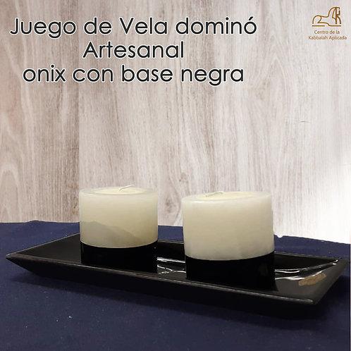 Juego de Vela dominó Artesanal  con base negra