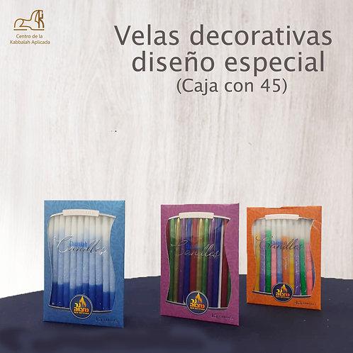 Velas decorativas  diseño especial. Caja con 45