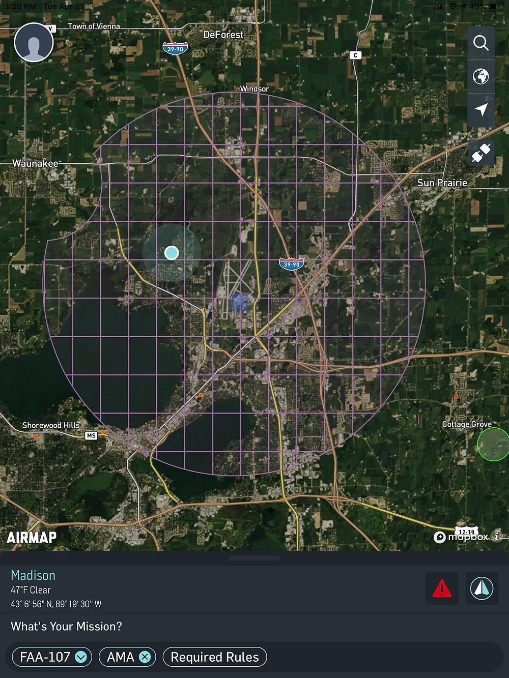 FAA drone authorizations zones surrounding Dane County (WI) Regional Airport.
