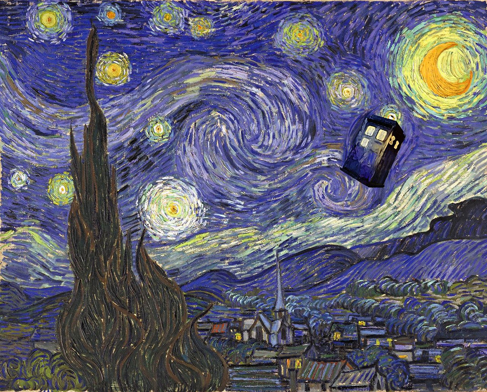 Starry night featuring the TARDIS