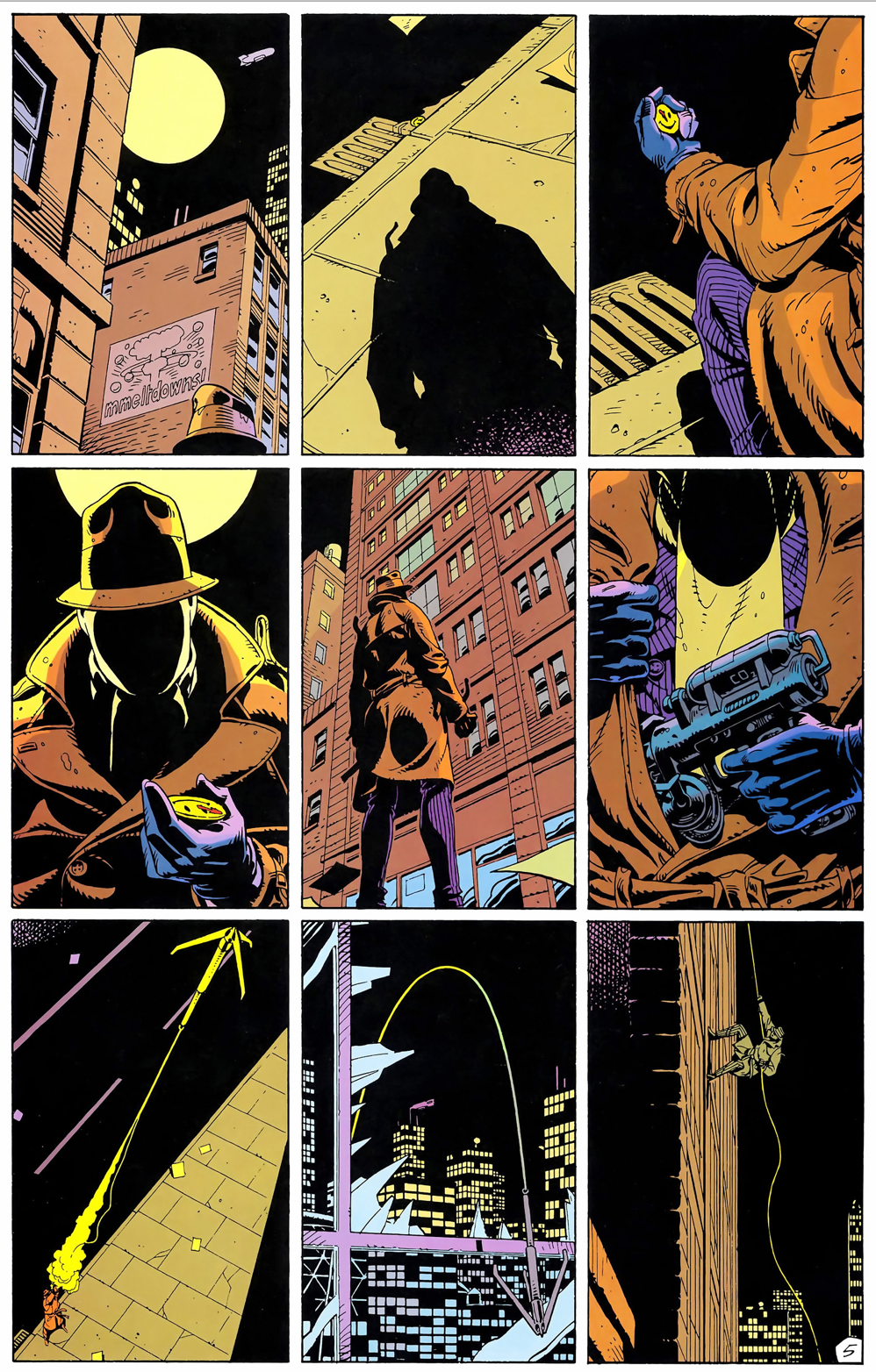 A page from Watchmen showing Rorshach picking up The Comedian's blood spattered button and then using a grappling gun to scale an apartment building.