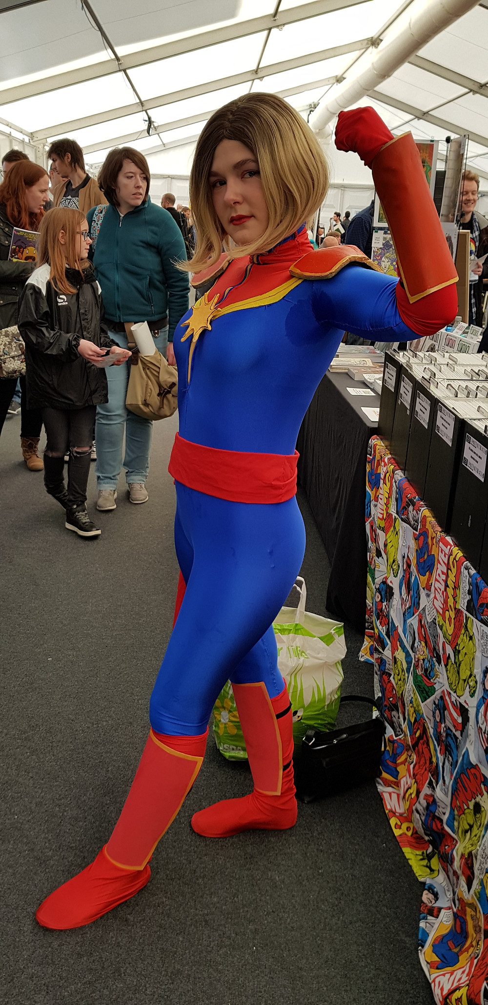 A friend of the shop in Captain Marvel Cosplay from Thought Bubble 2017