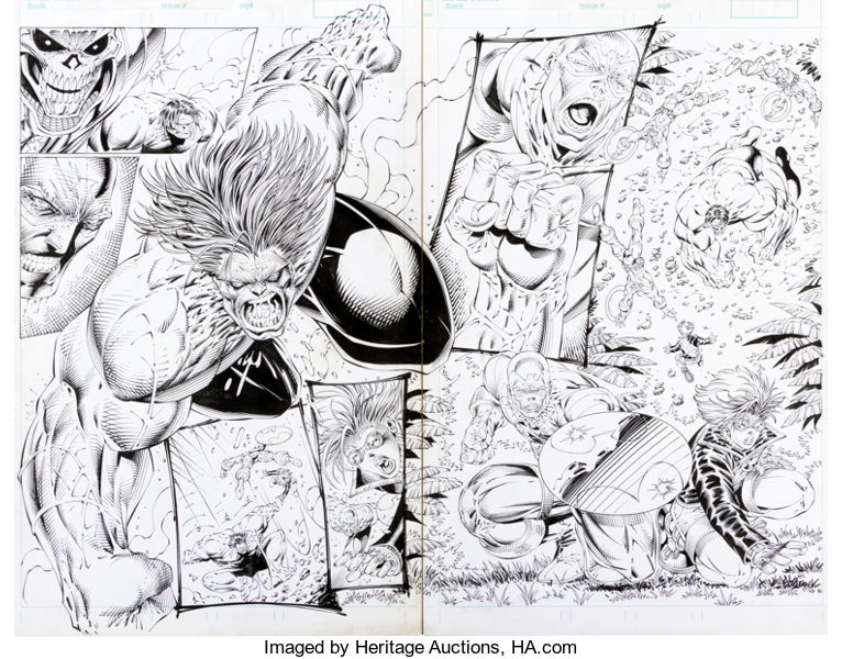 A dramatic Rob Liefeld double page black and white spread