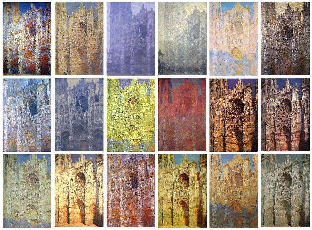 Many versions of Monet's Rouen Cathedral
