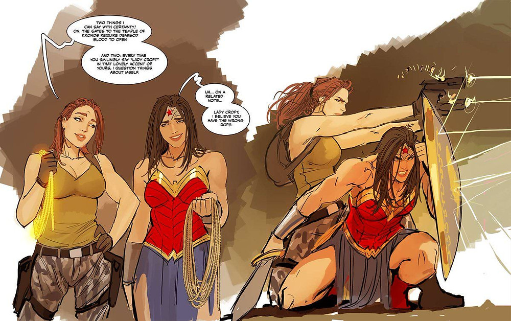 Wonder Woman with Lara Croft