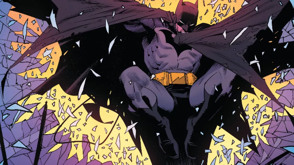 Batman crashes into Detective comics Art by Dan Mora copyright DC Comics